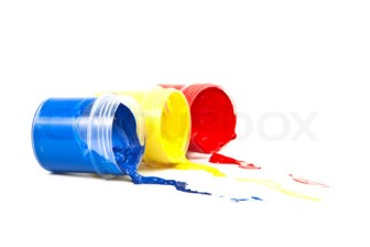 Color paint on a white background.